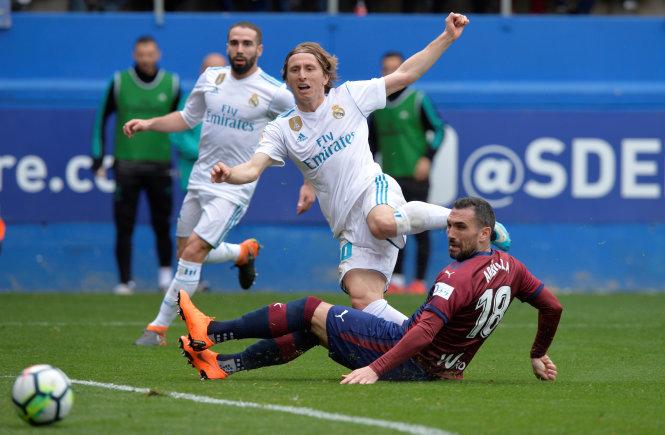 Dù thi đấu rất cố gắng nhưng Eibar vẫn phải chấp nhận thất bại trước R.M. Ảnh: REUTERS