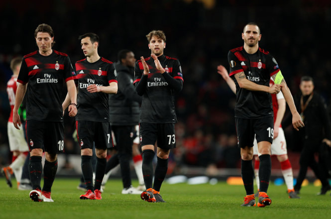 Sự thất vọng của Milan sau khi bị loại khỏi Europa League. Ảnh: REUTERS