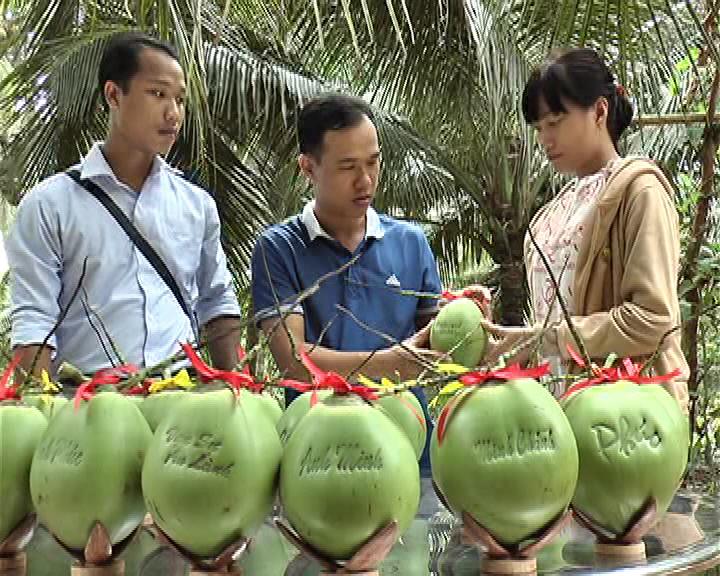Mô hình khởi nghiệp thành công từ dừa của thanh niên Thị trấn Châu Thành. Ảnh: Hoàng Loan
