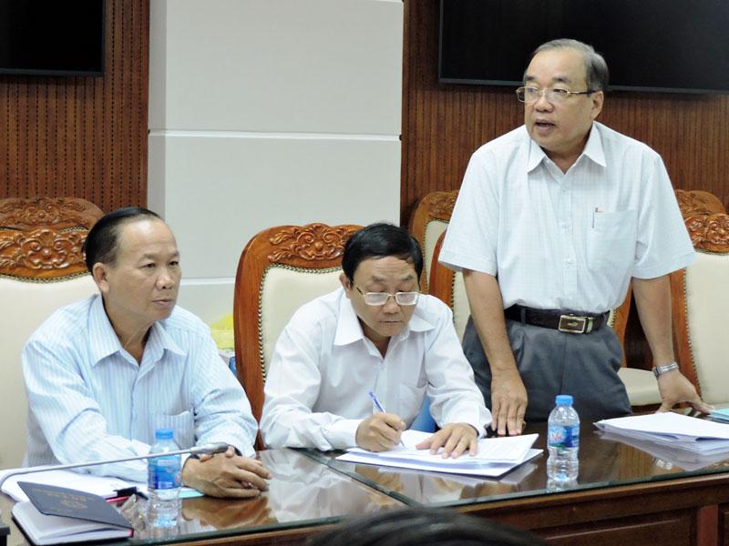 Ông Lê Văn Hoàng - Giám đốc Sở Giao thông vận tải nêu ý kiến. Ảnh: PV