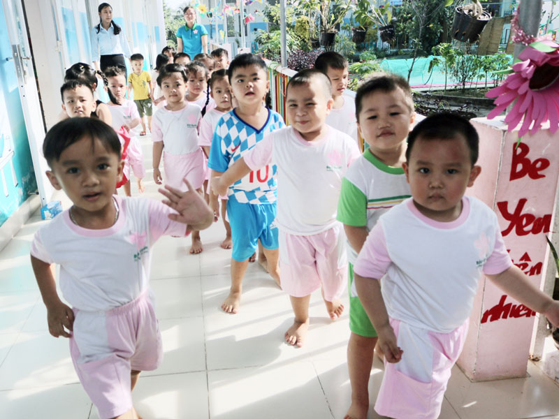 Trẻ được chăm sóc, giáo dục tại Trường Mầm non Bảo Quyên.