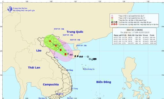 Dự báo vị trí và hướng di chuyển của bão số 2. Nguồn: nchmf.gov.vn