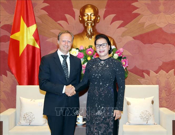 Chủ tịch Quốc hội Nguyễn Thị Kim Ngân tiếp Ngài Bruno Angelet, Trưởng đại diện Phái đoàn Liên minh châu Âu tại Việt Nam đến chào từ biệt nhân dịp kết thúc nhiệm kỳ công tác. Ảnh: Trọng Đức/TTXVN