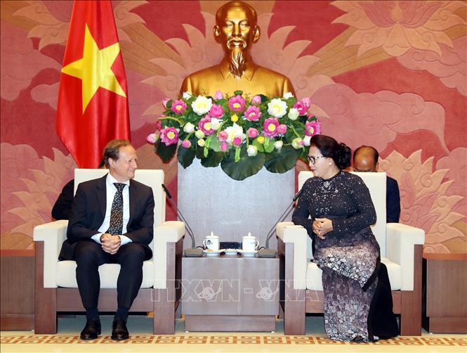 Chủ tịch Quốc hội Nguyễn Thị Kim Ngân tiếp Ngài Bruno Angelet. Ảnh: Trọng Đức/TTXVN