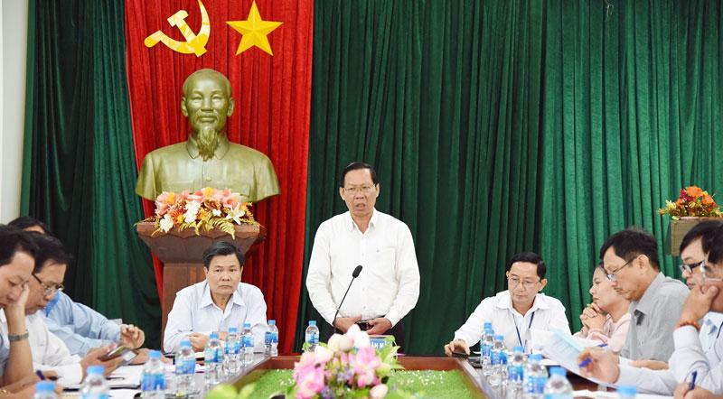 Bí thư Tỉnh ủy Phan Văn Mãi làm việc tại Sở Văn hóa, Thể thao và Du lịch.