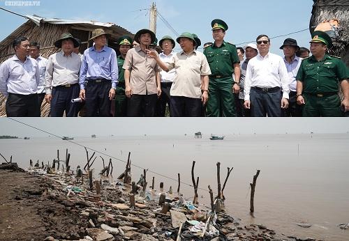 Thủ tướng thị sát khu vực bị sạt lở ở huyện Gò Công Đông, Tiền Giang. Ảnh: VGP/Quang Hiếu
