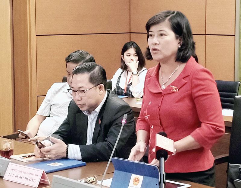 Đại biểu Nguyễn Thị Lệ Thủy phát biểu thảo luận tổ.