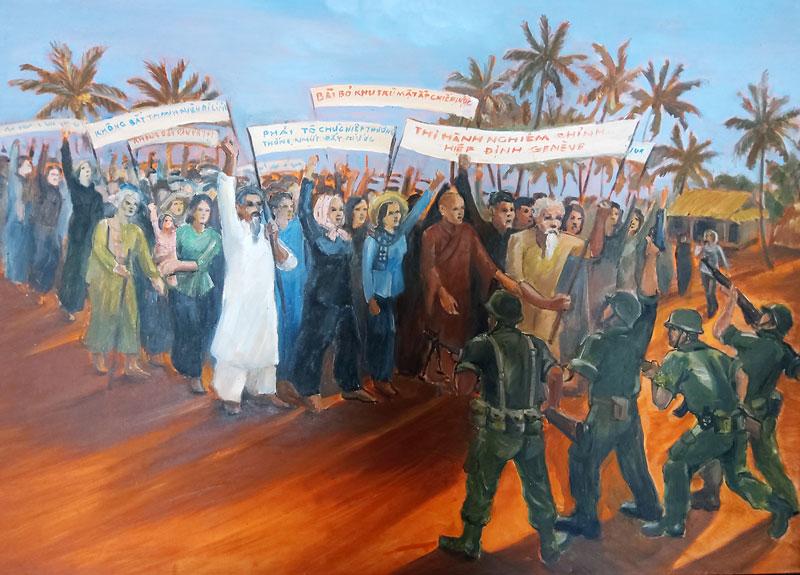 Tranh tái hiện cuộc đấu tranh chính trị của nhân dân ta. (Ảnh PV chụp lại tại nhà truyền thống Đồng Khởi).