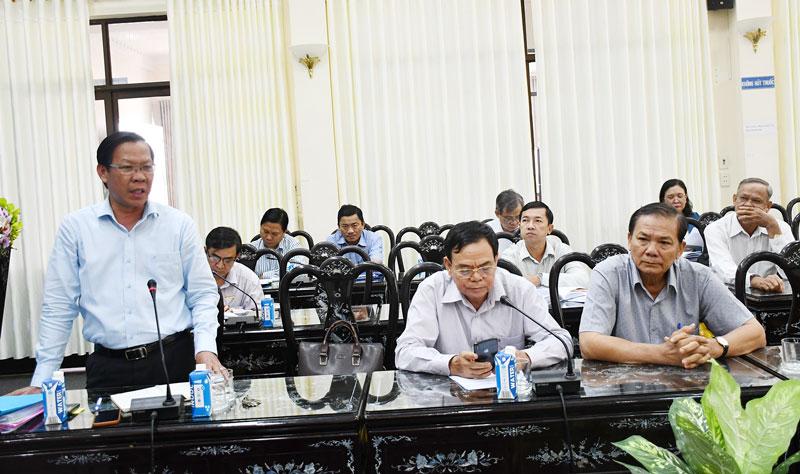 Bí thư Tỉnh ủy Phan Văn Mãi phát biểu tại hội nghị. Ảnh: T.Huyền