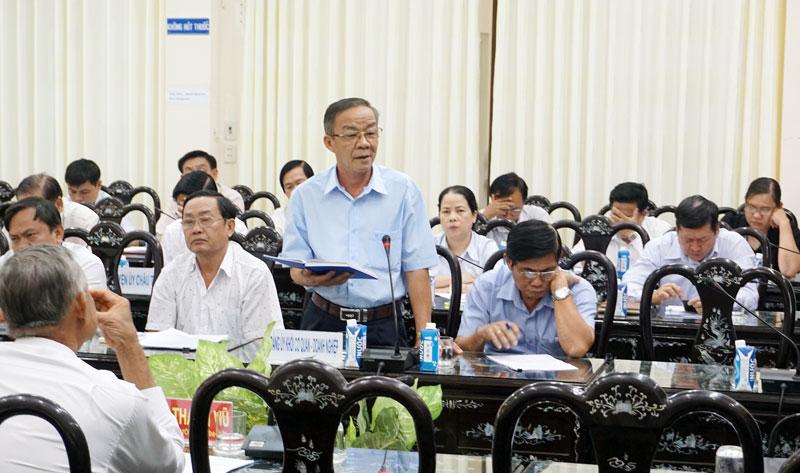 Bí thư Đảng ủy Khối Cơ quan - Doanh nghiệp tỉnh Võ Văn Kiệt phát biểu tại hội nghị. Ảnh: Quốc Hùng