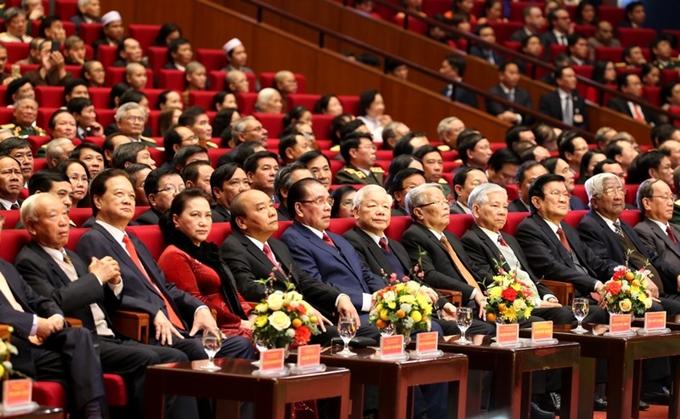 Các đồng chí Lãnh đạo, nguyên Lãnh đạo Đảng, Nhà nước dự buổi Lễ