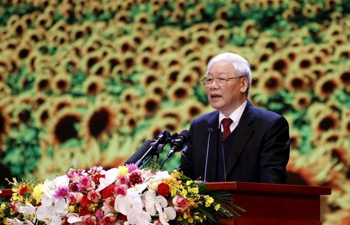 Tổng Bí thư, Chủ tịch nước Nguyễn Phú Trọng đọc diễn văn tại buổi Lễ.