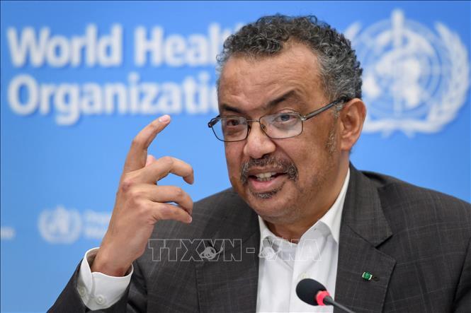 Tổng Giám đốc Tổ chức Y tế thế giới (WHO) Tedros Adhanom Ghebreyesus trong cuộc họp báo sau phiên họp kín về dịch viêm đường hô hấp cấp do chủng virus 2019nCoV gây ra, tại Geneva, Thụy Sĩ ngày 30-1-2020. Ảnh: AFP/TTXVN