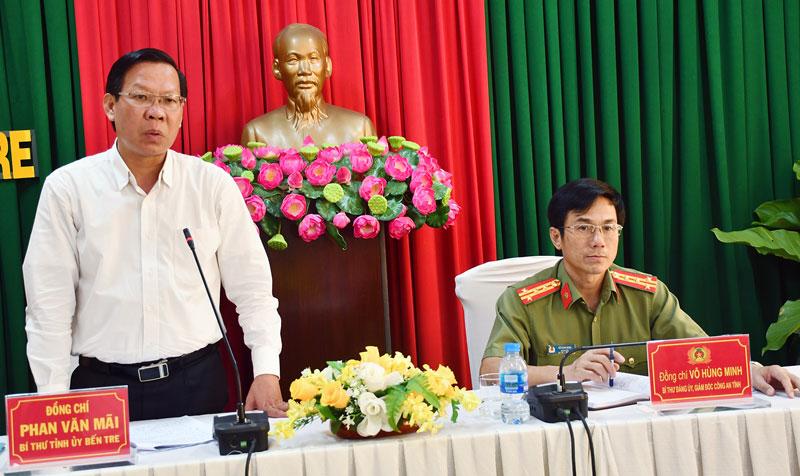 Bí thư Tỉnh ủy Phan Văn Mãi phát biểu tại buổi làm việc. Ảnh: H.Hiệp