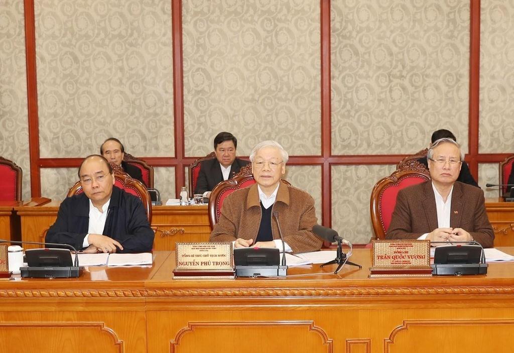 Tổng Bí thư, Chủ tịch nước Nguyễn Phú Trọng chủ trì phiên họp của Bộ Chính trị sáng 20-3 về công tác phòng, chống dịch COVID-19. Ảnh: TTXVN