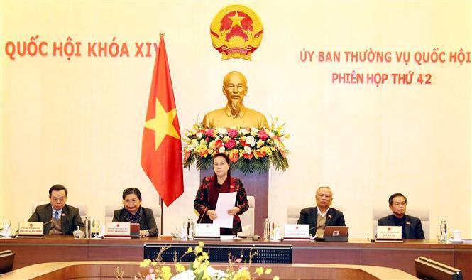 Chủ tịch Quốc hội Nguyễn Thị Kim Ngân phát biểu bế mạc Phiên họp thứ 42 của Ủy ban Thường vụ Quốc hội, ngày 11-2-2020. Ảnh: Trọng Đức/TTXVN