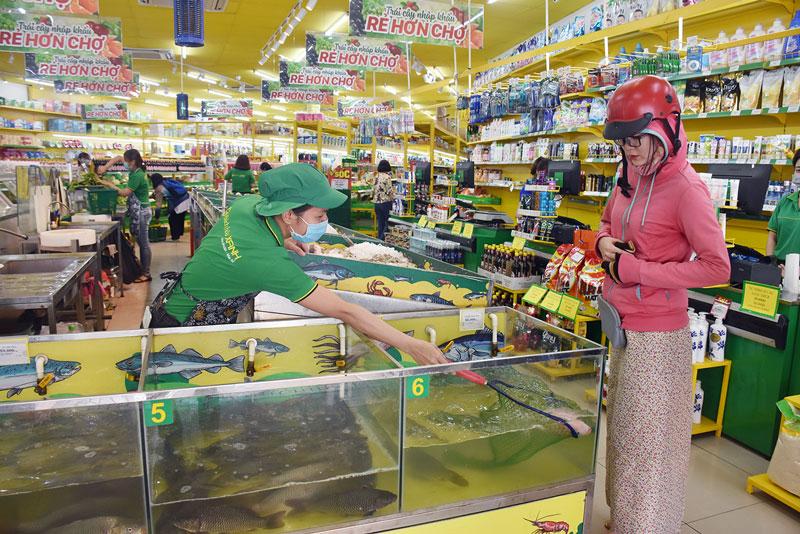 Hệ thống cửa hàng tiện lợi vẫn mở cửa cung cấp đầy đủ các mặt hàng thiết yếu phục vụ nhu cầu mua sắm của người dân. Ảnh: C. Trúc