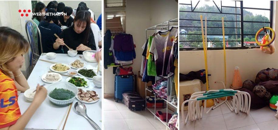 Đội nữ Sơn La sinh hoạt, tập luyện trong điều kiện khó khăn thời gian qua.