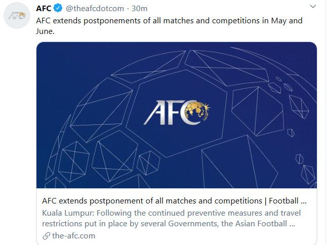 Quyết định hoãn toàn bộ các trận đấu và giải đấu diễn ra trong tháng 5 và 6 của AFC. Ảnh: AFC