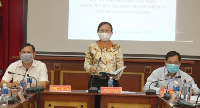 Chủ tịch Uỷ ban MTTQ Việt Nam thành phố Nguyễn Thị Mai Rý kết luận hội nghị.