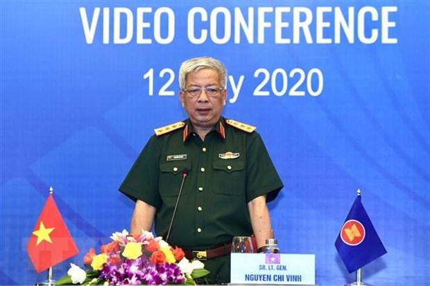 Thượng tướng Nguyễn Chí Vịnh, Thứ trưởng Bộ Quốc phòng phát biểu khai mạc. Ảnh: Dương Giang/TTXVN
