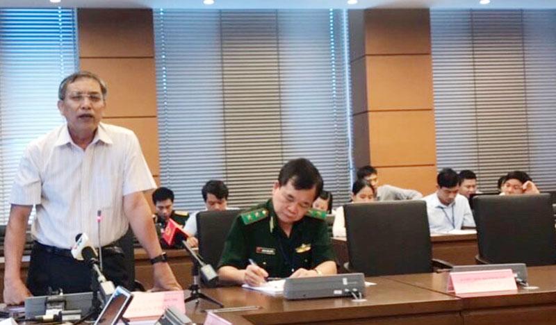 Đại biểu Cao Văn Trọng - Chủ tịch UBND tỉnh, Trưởng đoàn Đại biểu Quốc hội tỉnh phát biểu thảo luận.