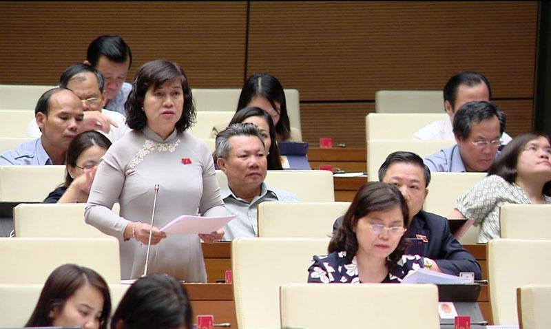 Đại biểu Nguyễn Thị Lệ Thủy góp ý dự án Luật Người lao động Việt Nam đi làm việc ở nước ngoài theo hợp đồng (sửa đổi).