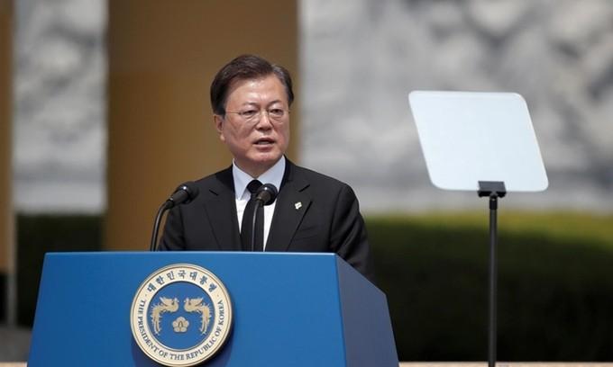 Tổng thống Hàn Quốc Moon Jae-in phát biểu tại thành phố Daejeon hôm 6-6. Ảnh: Reuters.