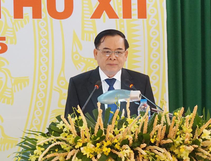 Phó bí thư Thường trực Tỉnh ủy Trần Ngọc Tam phát biểu chỉ đạo Đại hội.