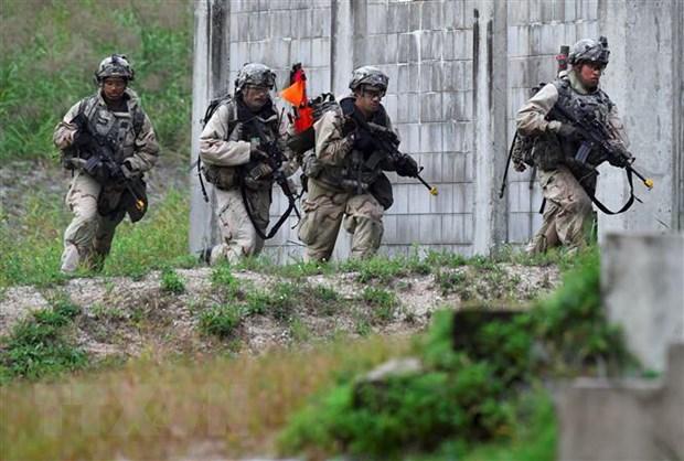 Binh sỹ Mỹ tham gia cuộc tập trận chung Mỹ-Hàn tại Pocheon, Hàn Quốc. (Ảnh: AFP/TTXVN)