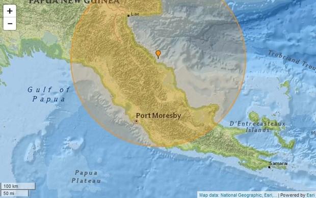 Vị trí trận động đất tại Papua New Guinea. Nguồn: USGS