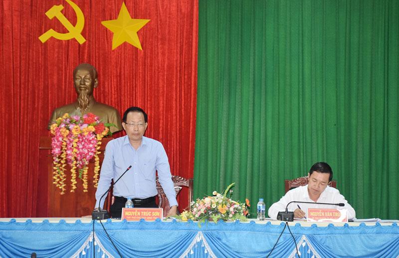 Phó chủ tịch UBND tỉnh Nguyễn Trúc Sơn phát biểu tại buổi làm việc.