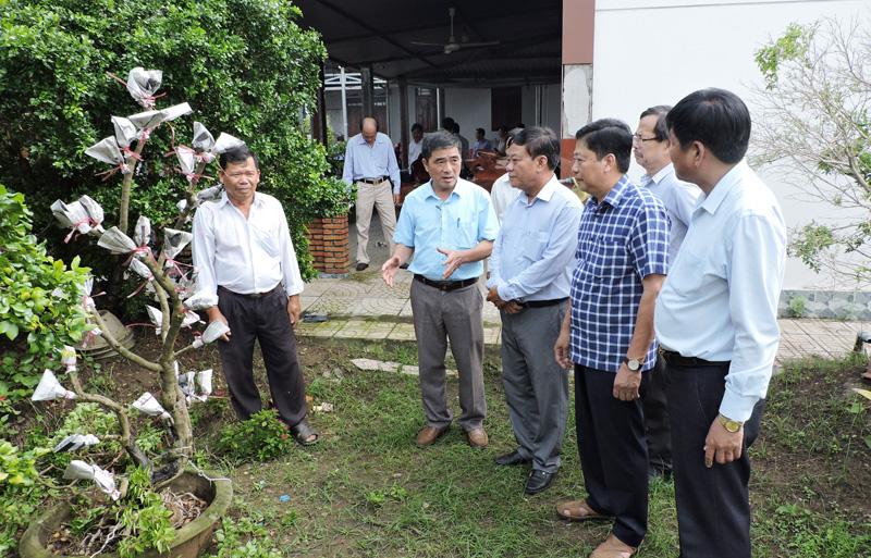Đoàn tham gia khảo sát tại cơ sở cây giống hoa kiểng xã Vĩnh Thành.
