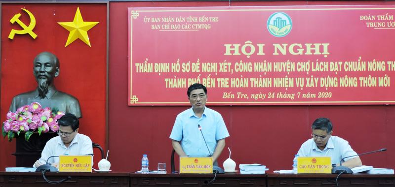 Phó chánh Văn phòng Điều phối NTM Trung ương Trần Văn Môn phát biểu tại buổi khảo sát.