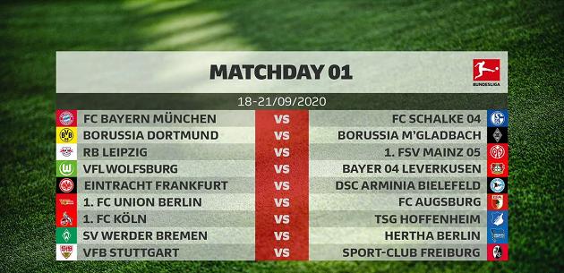 Lịch đá vòng 1 Bundesliga mùa 2020/21