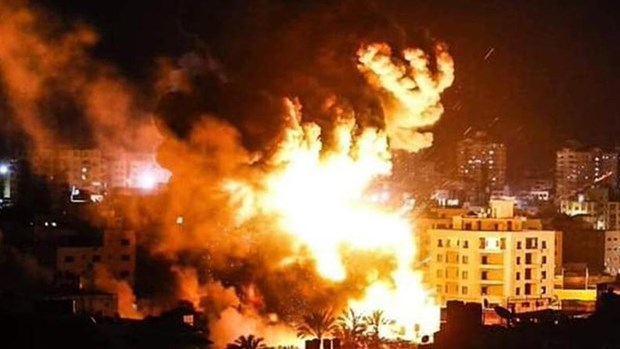 Israel tấn công mục tiêu của Hamas ở Gaza. (Ảnh: CGTN)