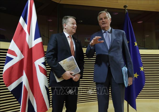Trưởng đoàn đàm phán Brexit của Anh David Frost (trái) và Trưởng đoàn đàm phán của Liên minh châu Âu Michel Barnier tại vòng đàm phán thứ nhất về quan hệ Anh-EU hậu Brexit, ở Brussels, Bỉ ngày 2-3-2020. Ảnh tư liệu: AFP/TTXVN
