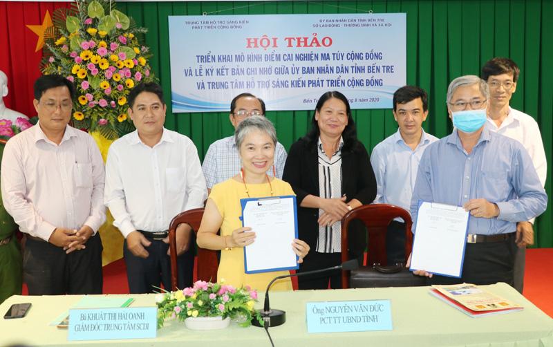 UBND tỉnh Bến Tre và Trung tâm Hỗ trợ sáng kiến phát triển cộng đồng ký kết bản ghi nhớ.