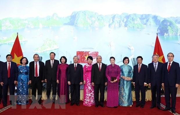 Thủ tướng Nguyễn Xuân Phúc, Chủ tịch Quốc hội Nguyễn Thị Kim Ngân và các đồng chí lãnh đạo Đảng, Nhà nước. Ảnh:Thống Nhất/TTXVN