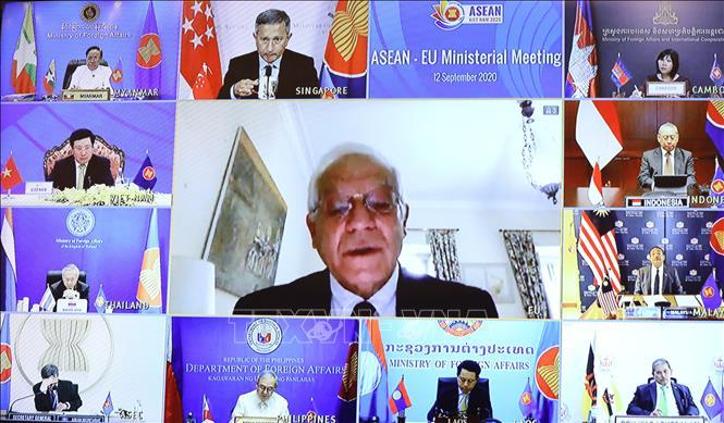 Đại biểu các nước dự Hội nghị Bộ trưởng Ngoại giao ASEAN - Liên minh châu Âu (EU). Ảnh: Văn Điệp/TTXVN