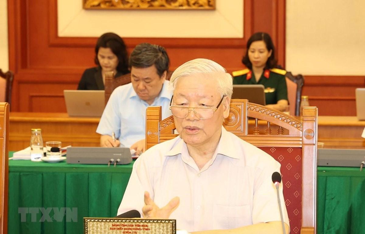 Tổng Bí thư, Chủ tịch nước Nguyễn Phú Trọng, Bí thư Quân ủy Trung ương phát biểu kết luận buổi làm việc với Ban Thường vụ Quân ủy Trung ương. Ảnh: Trí Dũng/TTXVN