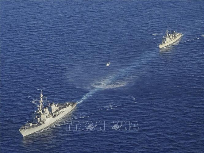 Tàu chiến của Hy Lạp tham gia cuộc tập trận ở phía Đông Địa Trung Hải ngày 24-8-2020. Ảnh: AFP/TTXVN