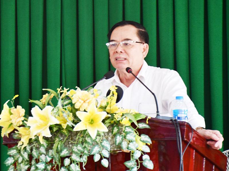 Phó bí thư Thường trực Tỉnh ủy Trần Ngọc Tam phát biểu chỉ đạo tại buổi làm việc.