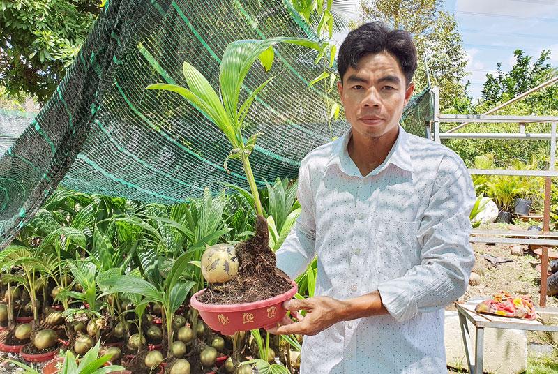 Anh Bùi Văn Ngưng (xã Sơn Định, huyện Chợ Lách) với sản phẩm bonsai dừa.