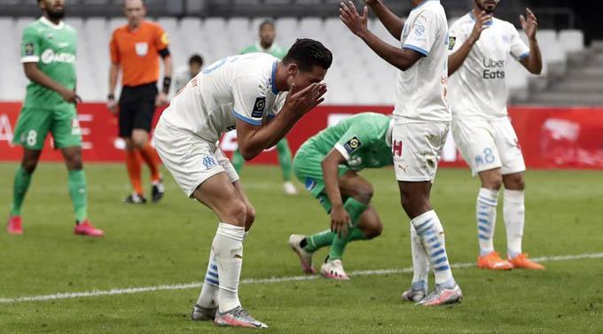 Sự thất vọng của các cầu thủ Marseille