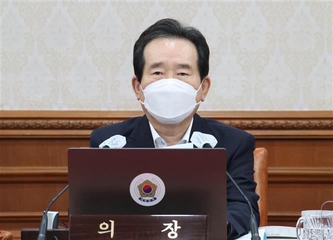 Thủ tướng Hàn Quốc Chung Sye-kyun phát biểu trong cuộc họp nội các tại Seoul, Hàn Quốc, ngày 15-9-2020. Ảnh: Yonhap/ TTXVN