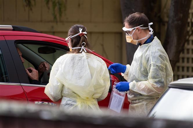 Nhân viên y tế lấy mẫu dịch xét nghiệm COVID-19 cho người dân tại Lower Hutt, gần Wellington, New Zealand. Ảnh: AFP/ TTXVN