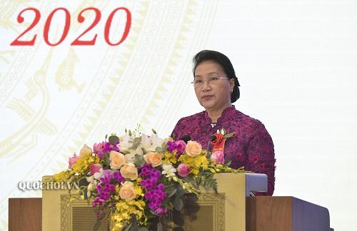 Chủ tịch Quốc hội Nguyễn Thị Kim Ngân phát biểu tại Đại hội. Ảnh: Quochoi.vn