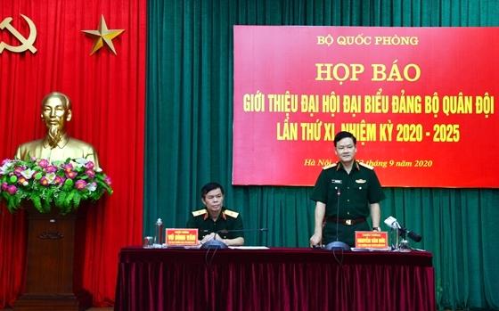 Bộ Quốc phòng đã tổ chức họp báo giới thiệu về Đại hội đại biểu Đảng bộ Quân đội lần thứ XI, nhiệm kỳ 2020-2025. Ảnh: VGP/Nhật Nam