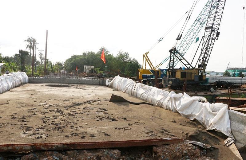 Công trình cống thuộc hệ thống thủy lợi tại TP. Bến Tre.